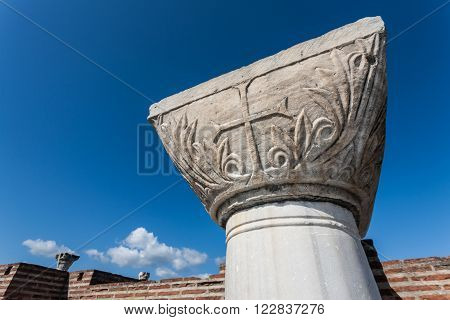 Christian Cross On Column Header In Selcuk Ruins