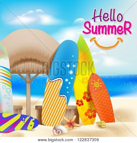 Hello Summer Colorful Theme in the Beach beside the Seashore with Decorative Surfboards and Bright Sky Blue Ocean including Seashells and Nipa Hut. Vector illustration