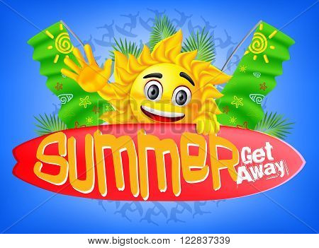Summer Get Away with a Happy Sun holding Surfboard and Flags on the back and a Gradient Blue Background concept, Vector Illustration