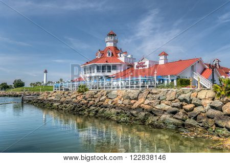 LONG BEACH, CA/USA - MARCH 19, 2016: Parker's Lighthouse restaurant exterior and logo. Parker's Lighthouse is a landmark seafood restaurant in southern California.