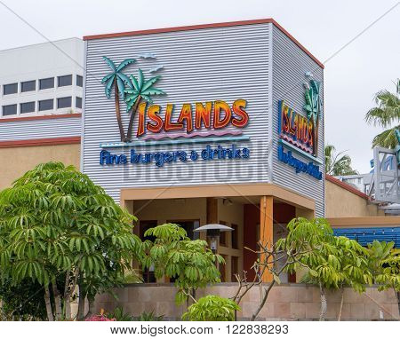 LONG BEACH CA/USA - MARCH 19 2016: Islands Fine Burgers & Drinks exterior and logo. Islands is a casual