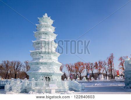 Harbin China 01/21/2016 Ice pagoda on a sunny day at the ice festival in Harbin