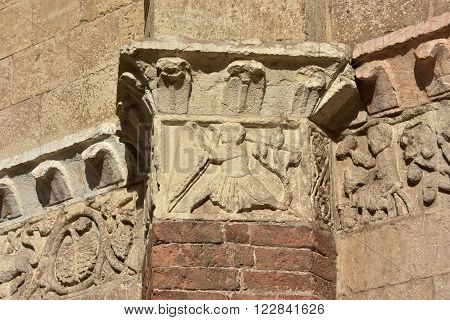 Medieval relief from Verona Cathedral frieze with warrior (12th century)