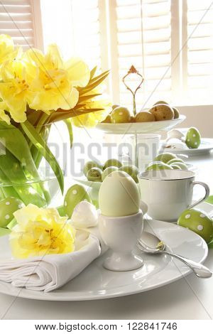 Place setting for Easter brunch