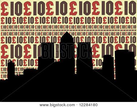 London Docklands Skyline with ten pounds currency illustration