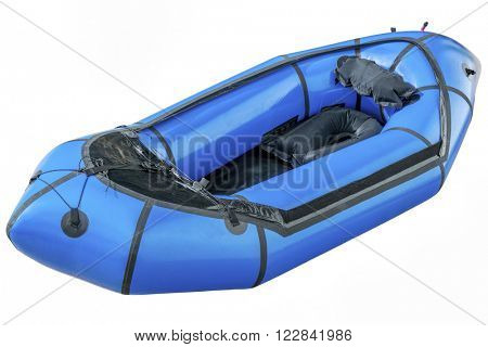 a blue packraft (one-person light raft used for expedition or adventure racing) isolated on white with a clipping path