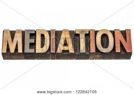 mediation word -  isolated text in vintage letterpress wood type printing blocks