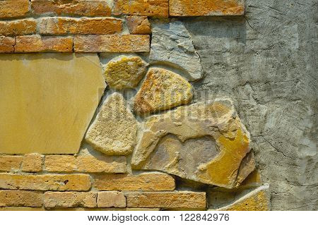Brick, Cement, and Stone Wall for Background