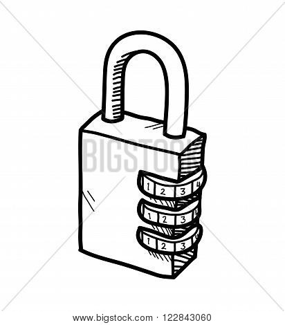 Padlock Doodle, a hand drawn vector doodle illustration of a padlock with numerical lock system.
