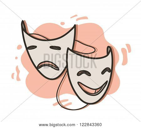 Opera Masks, a hand drawn vector illustration of happy and sad expression opera masks on simple background (editable).