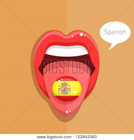 Spanish language concept. Spanish language tongue open mouth with flag of Spain, woman face. Flat design, vector illustration.