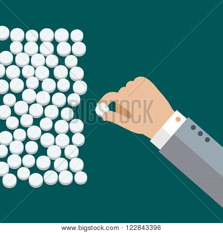 Concept of taking pills. Hand with white medical pills. Flat design, vector illustration.