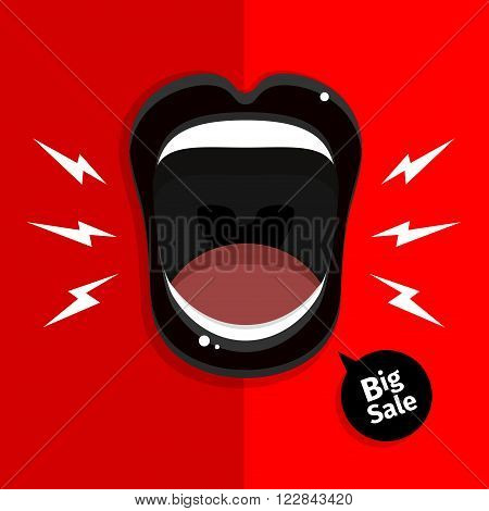 Concept of Sale. Womans mouth with open black lips on red background. Vector Illustration.