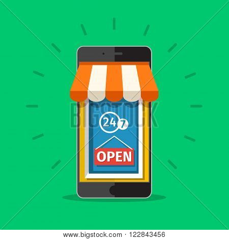 Vector e-commerce concept in flat style. On line store. Sale, smart phone with awning