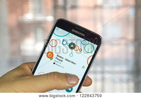 MONTREAL CANADA - MARCH 20 2016 - Badoo mobile application on Samsung S5's screen. Badoo is a dating-focused social networking service.
