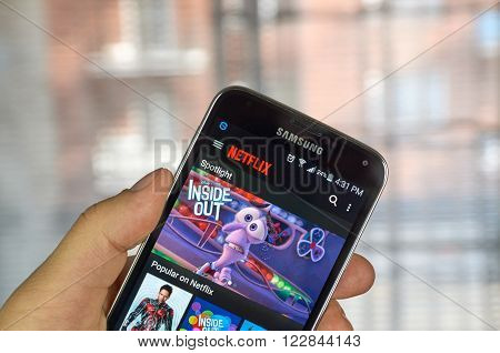MONTREAL CANADA - MARCH 20 2016 - Netflix application running Samsung S5. Netflix is a popular global provider of streaming movies and TV series