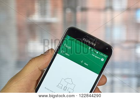 MONTREAL CANADA - MARCH 20 2016 - Microsoft Office Excel mobile application on Samsung S5's screen. Microsoft Office is one of the most popular office suite software.