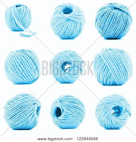 Blue clew of braided rope collection isolated on white background