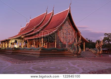 Religious buildings in Thailand Church of Buddhist temples Phuproud Sirindhorn District, Ubon Ratchathani. North East of Thailand.