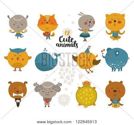 Set of Cartoon animals, cute baby animal in love. Vector fox, rabbit, cat, merinos, bird isolated on white background.