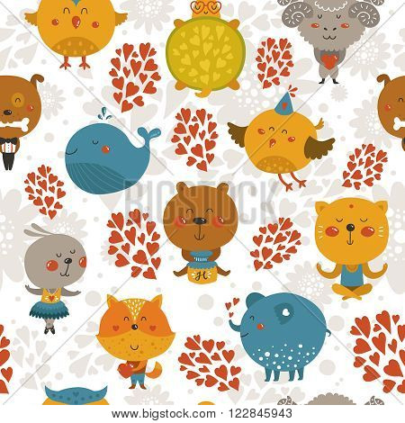 Vector seamless pattern with cute animals. Zoo background with fox, rabbit, cat, merinos, bird, dog and owl