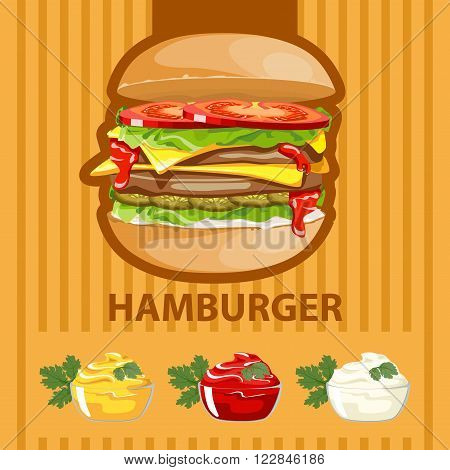 Big tasty burger with different sauces on a colored background.