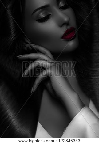 Beautiful Woman black and white red lips  with Healthy Long Hair and shiny pink lips