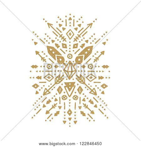 Vector tribal patterns, aztec shapes with ethnic elements. Gold tribal design, flash tattoo isolated on white background