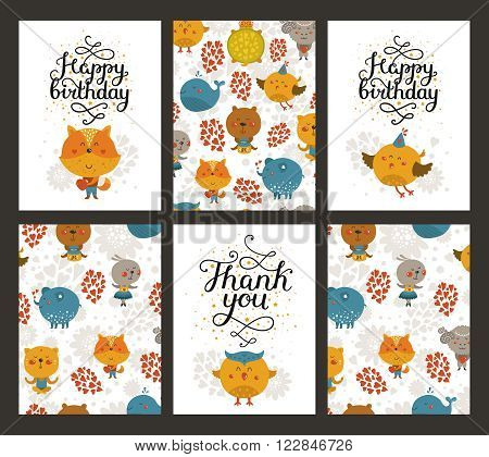 Vector animal cards, happy birthday card and thank you. Kids birthday party