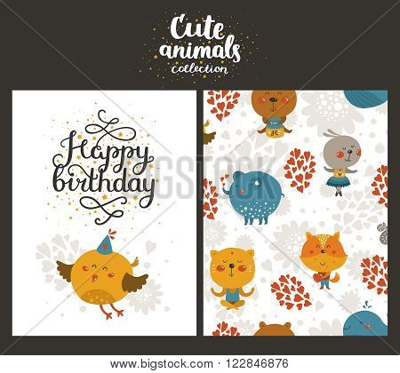 Vector animal cards, happy birthday card with lettering and cute bird. Kids birthday party