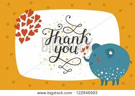 Cute animal card with elephant. Thank you card with baby animal in love and lettering. Vector greeting animal card