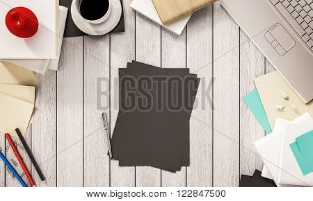 Working space,coffee cup book, pen, papers, computer notebook, apple and other supplies on white wooden desk, 3d rendered