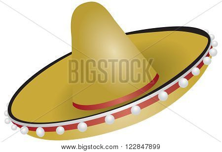 Authentic Mexican sombrero for festive events. Vector illustration.