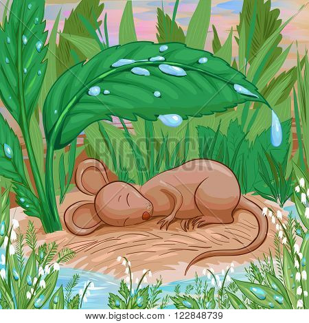 Mouse is slepping on a piece of dry land under rain. Brown cute mouse hiding from the rain. Vector illustration in cartoon childish style suit for childish book or coloring. Tale or story about homeless animal.
