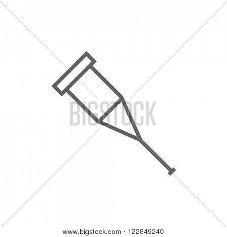 Crutch line icon.