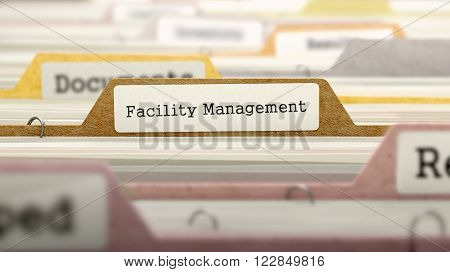 Facility Management Concept. Colored Document Folders Sorted for Catalog. Closeup View. Selective Focus. 3D Render.