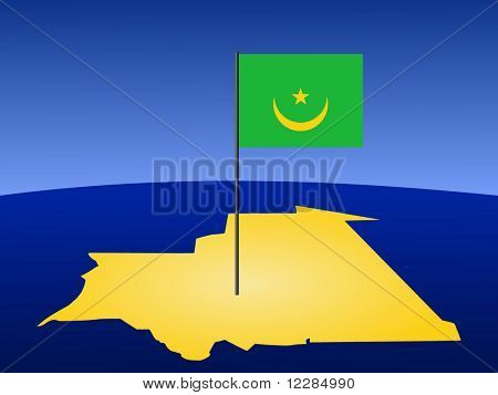 map of Mauritania and their flag on pole illustration