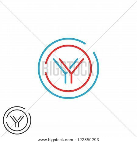 Modern Graphic Y Logo Letter Monogram, Thin Line Circle Frame Design Element, Initials Yy Wedding In