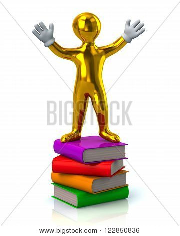 Golden Man Standing On A Stack Of Books