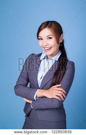 Businesswoman over blue background