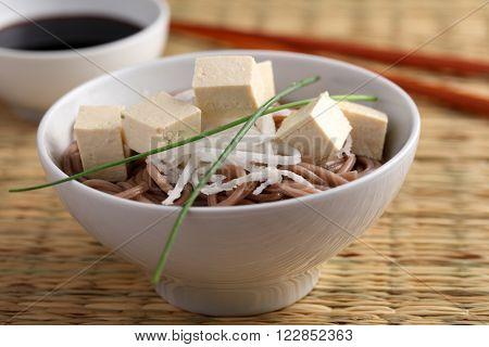 Soba noodle soup with tofu, daikon radish and green onion