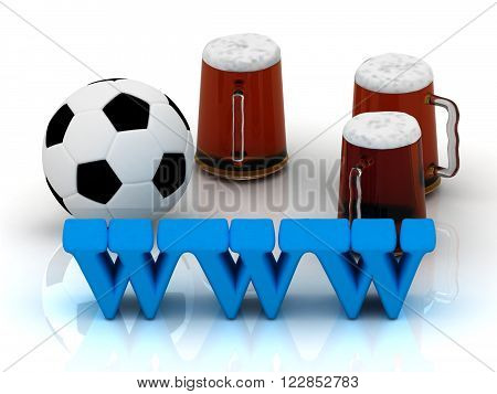 WWW bright word football 3 cup beer on white background