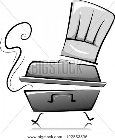 Black and White Illustration of a Chafing Dish with a Toque Above It