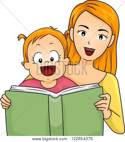 Illustration of a Mother Reading a Book to Her Baby Girl