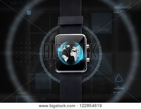 modern technology, object and mass media concept - close up of black smart watch with world globe on screen