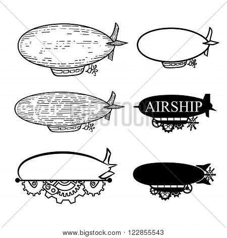 Vector steampunk logo set stylized fantastic airship with a place for the text.  Black silhouette dirigible template labels isolated on white background