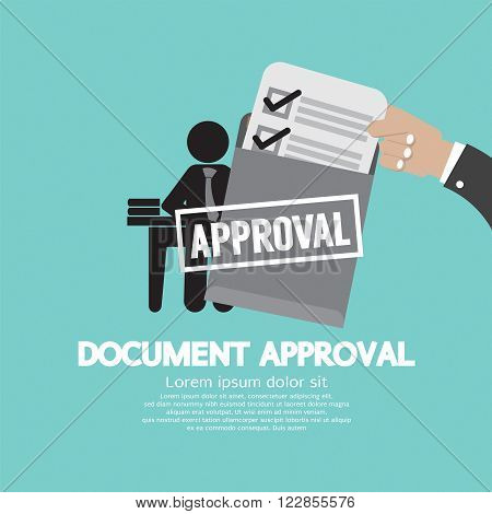 Hand Holding Document Approval Vector Illustration. EPS 10