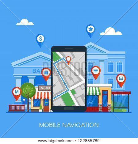 Mobile navigation concept vector illustration. Smartphone with gps city map on screen and route. Check-in symbols. Flat design.