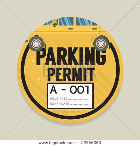 Parking Permit Card Vector Illustration. EPS 10