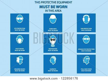 health and safety warning, mandatory signs for head and face (eye protector, hard hats, respirator, ear protector, dusk mask, opaque eye, welding mask, hairnets, full face visor). vector illustration